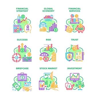 Finanzstrategie-set icons vektor-illustrationen. finanzdienstleistungen und investitionen, aktentasche für globale wirtschaft und erfolg, geschäftsrisiko und vertrauen, aktienmärkte und farbige illustrationen für geschäfte
