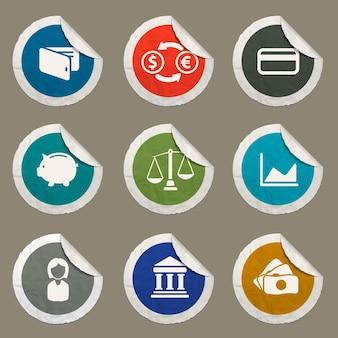 Finanzsymbole für websites und benutzeroberfläche festgelegt