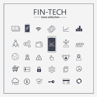 Finanztechnologie-entwurfsikonensatz