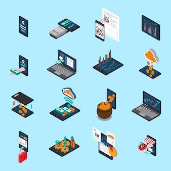 Finanztechnologie-isometrische ikonen