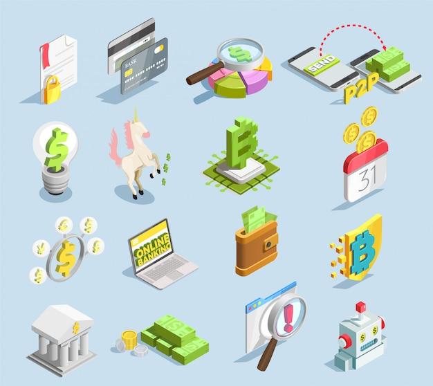 Finanztechnologie isometrische set