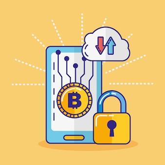 Finanztechnologie mit smartphone-symbol