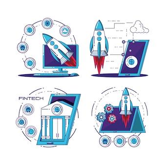 Finanztechnologie stellte ikonenvektor-illustrationsdesign ein