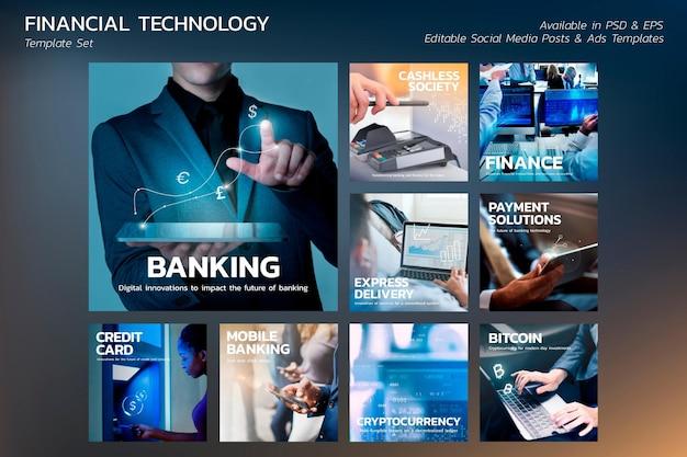 Finanztechnologie-vorlagenvektorsatz für blog-banner-post