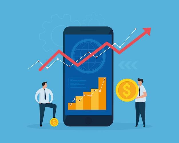 Finanztechnologiekonzept statistiken auf dem smartphone auswerten bankverfahren mit smartphones