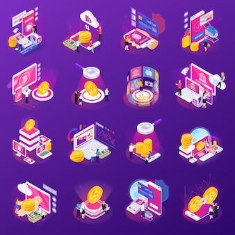 Finanztechnologiesatz isometrische ikonen mit glühen auf purpur lokalisiert