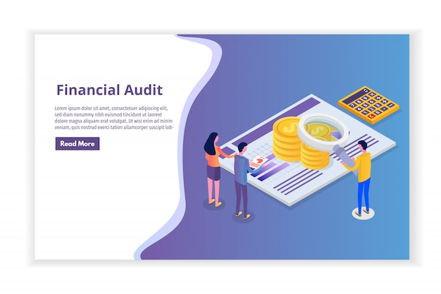 Finanzverwaltung, prüfer, isometrisches prüfungskonzept mit zeichen. unternehmenssteuer und konto.