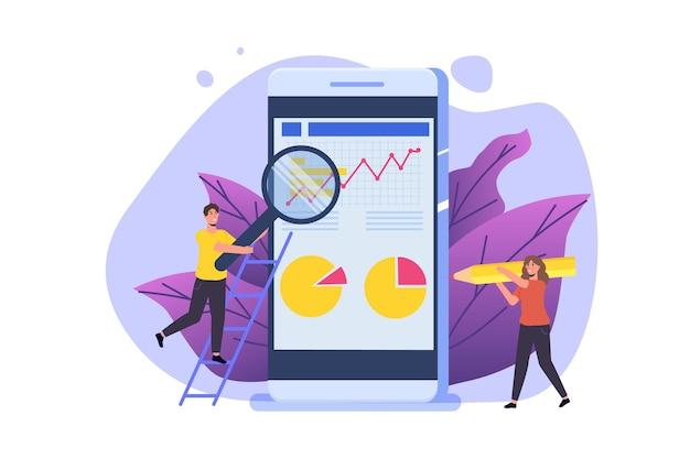 Finanzverwaltung, prüfer, prüfungskonzept mit charakteren. unternehmenssteuer und konto. vektor-illustration