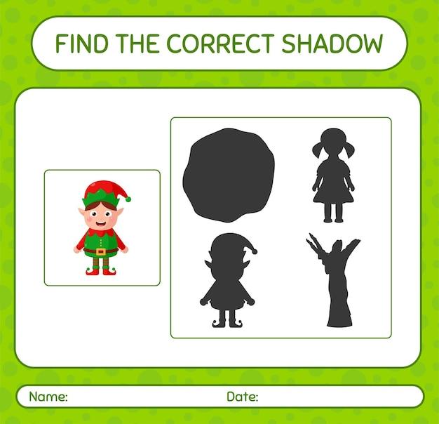 Finde das richtige schattenspiel mit elf. arbeitsblatt für kinder im vorschulalter, aktivitätsblatt für kinder