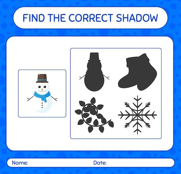 Finde das richtige schattenspiel mit schneemann. arbeitsblatt für kinder im vorschulalter, aktivitätsblatt für kinder