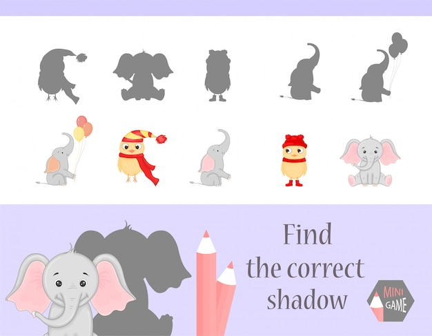 Finde das richtige schattige, kindliche lernspiel