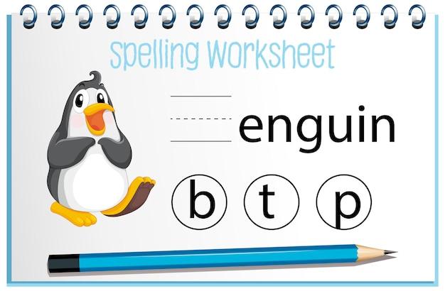 Finde den fehlenden brief mit dem pinguin Kostenlosen Vektoren