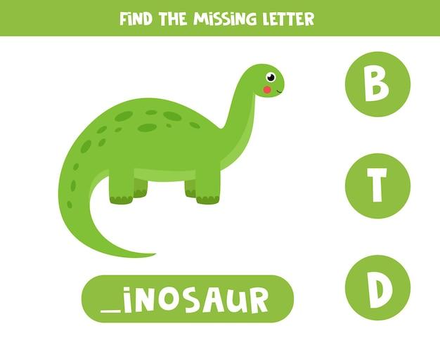 Finde den fehlenden buchstaben. netter grüner dinosaurier der karikatur. pädagogisches rechtschreibspiel für kinder.