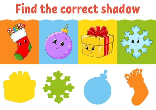 Finde den richtigen schatten. arbeitsblatt bildung. passendes spiel für kinder. farbaktivitätsseite.