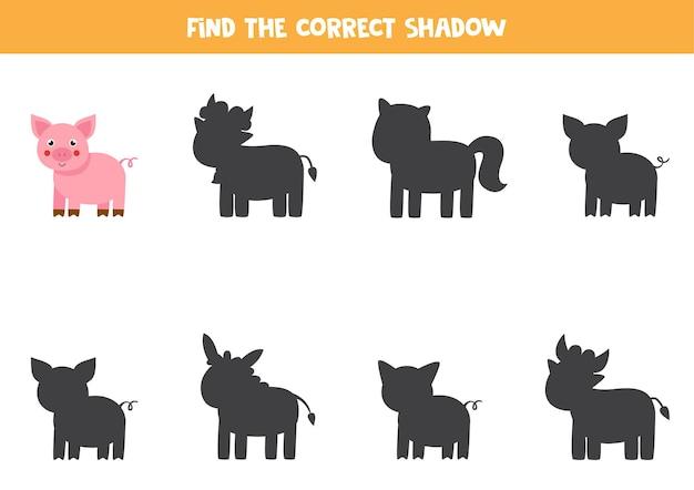 Finde den richtigen schatten des farmschweins. pädagogisches logisches spiel für kinder.