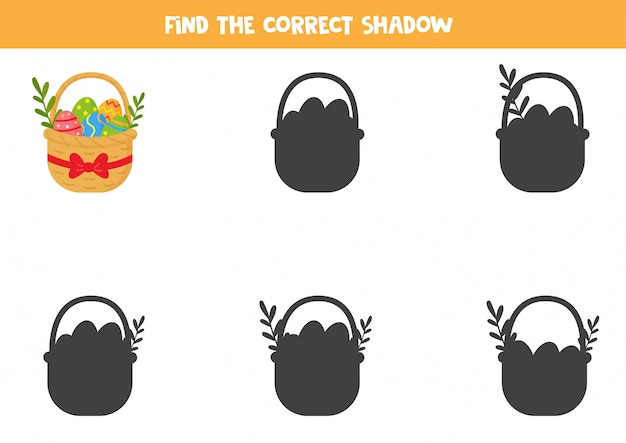 Finde den richtigen schatten des osterkorbs.