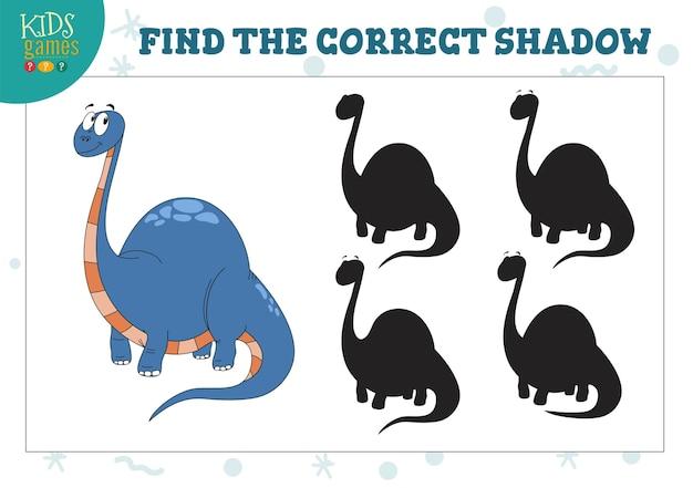 Finde den richtigen schatten eines niedlichen dinosauriers. pädagogisches vorschulkinderspiel