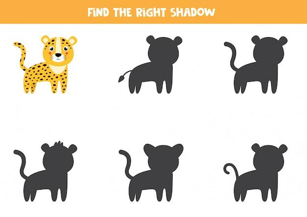 Finde den richtigen schatten eines niedlichen leoparden. logisches arbeitsblatt.