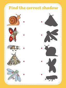 Finde den richtigen schatten. lernspiel für kinder