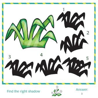 Finde den schatten des bildes - grünes gras
