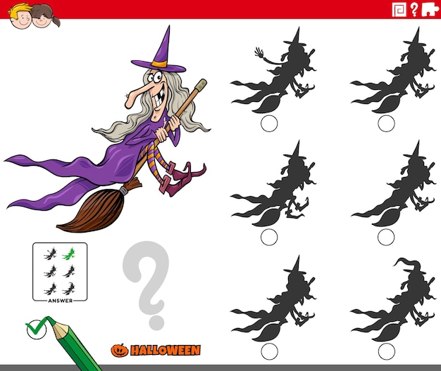 Finde den schatten ohne unterschiede mit cartoon-hexe auf besen