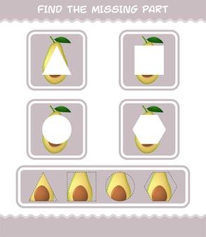 Finde die fehlenden teile der cartoon-avocado. suchspiel. lernspiel für vorschulkinder und kleinkinder