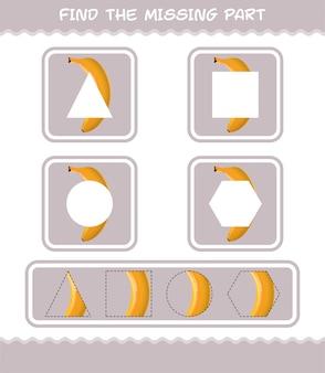 Finde die fehlenden teile der cartoon-banane. suchspiel. lernspiel für vorschulkinder und kleinkinder