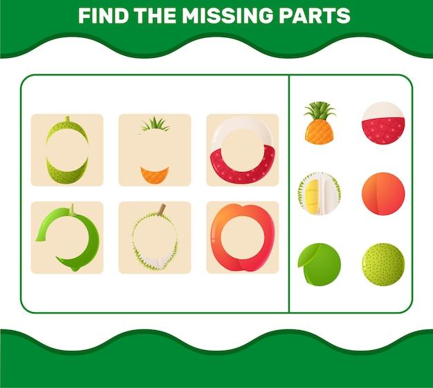 Finde die fehlenden teile von comic-früchten. suchspiel.