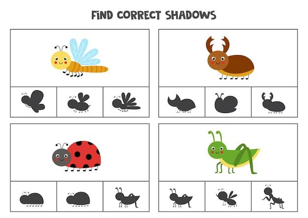 Finde die richtigen schatten niedlicher insekten. clip-karten für kinder im vorschulalter.
