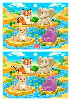 Finde die unterschiede. zwei bilder mit sieben wechseln dazwischen, vektor- und cartoon-illustrationen