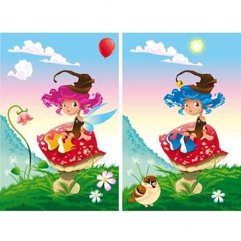 Finde die unterschiede zwei bilder mit zehn veränderungen zwischen ihnen vektoren und cartoon-illustrationen