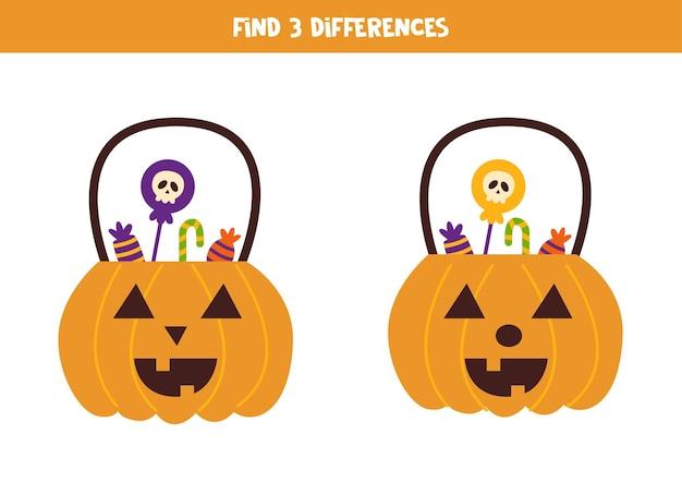 Finde drei unterschiede zwischen zwei halloween-kürbissen.
