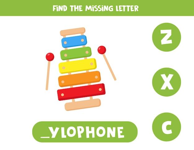 Finde fehlenden buchstaben mit cartoon-xylophon. lernspiel für kinder. arbeitsblatt zur rechtschreibung in englischer sprache für kinder im vorschulalter.