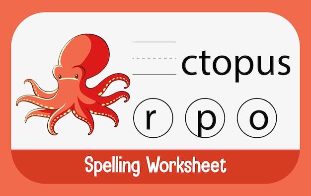 Finde fehlenden buchstaben mit oktopus