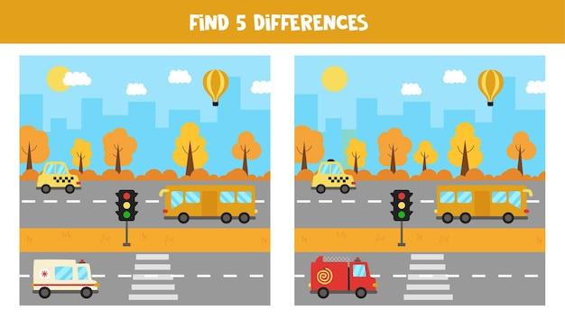 Finde fünf unterschiede zwischen bildern. stadtbild mit transport.