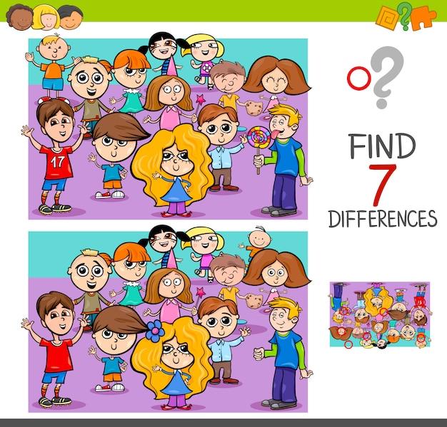 Finde unterschiede mit kindercharakteren