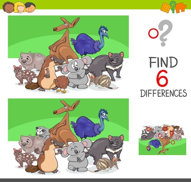 Finde unterschiede mit lustigen tierfiguren