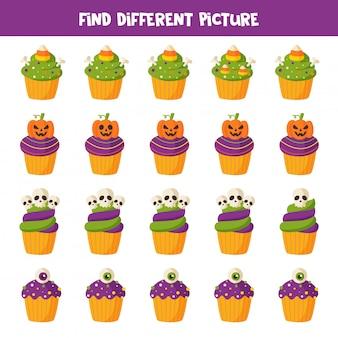 Finde verschiedene halloween cupcakes in jeder reihe