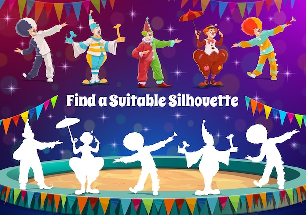 Finde zirkusclown-silhouette, kinderspielrätsel