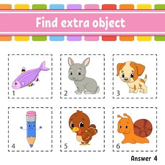 Finde zusätzliches objekt. arbeitsblatt für pädagogische aktivitäten für kinder und kleinkinder. spiel für kinder.