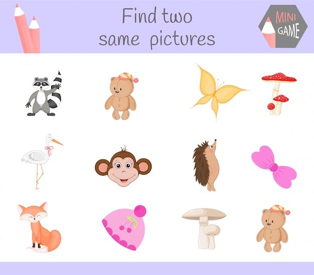 Finde zwei gleiche bilder. karikatur-illustrations-pädagogische tätigkeit für vorschulkinder.