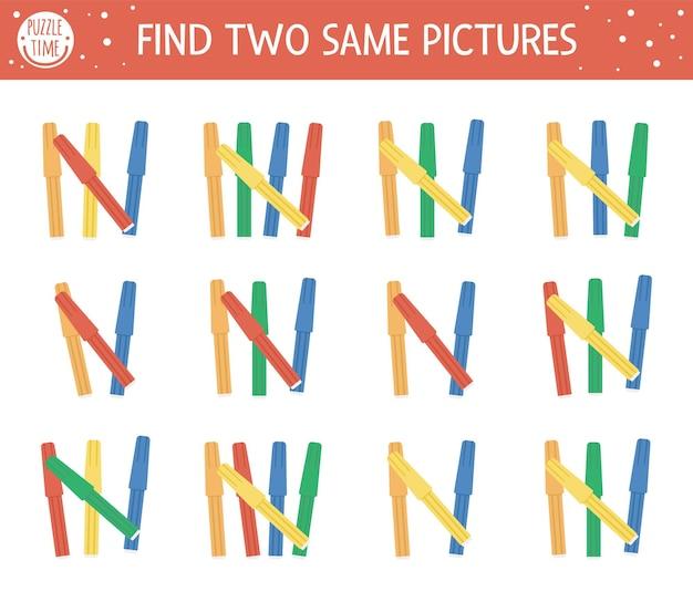 Finde zwei gleiche filzstifte. zurück zur schule, die aktivität zusammenbringt. lustiges lernspiel für kinder