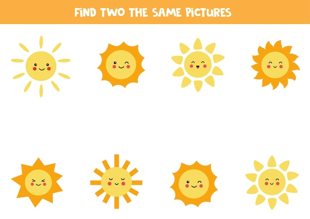 Finde zwei gleiche süße kawaii sonnen. pädagogisches logisches spiel für kinder.