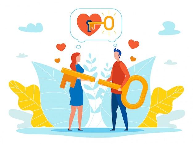 Finden des schlüssels zu geliebter person heart vector concept