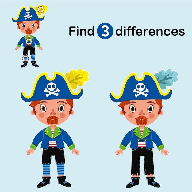Finden sie 3 unterschiede bildungsspiel für kinder cartoon-piraten-charakter vektor-illustration