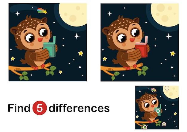 Finden sie 5 unterschiede bildungsspiel für kinder eule in der nacht vektor-illustration