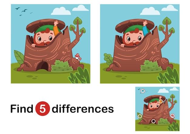 Finden sie 5 unterschiede bildungsspiel für kinder gnome in der natur vector illustration