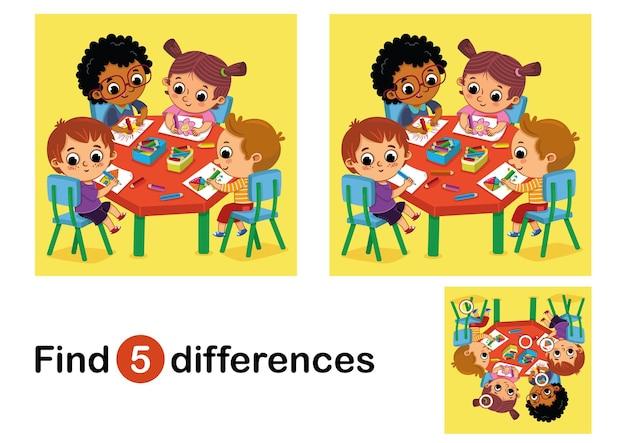Finden sie 5 unterschiede bildungsspiel für kinder vektor-illustration