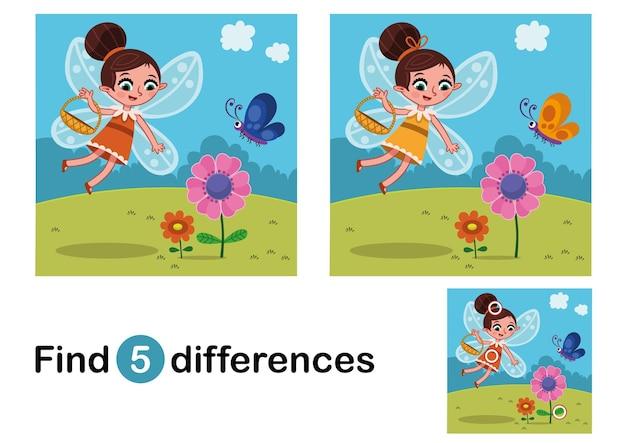 Finden sie 5 unterschiede bildungsspiel für kinderfee in der natur vector illustration