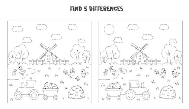 Finden sie 5 unterschiede zwischen zwei bildern von schwarz-weißer farmlandschaft.